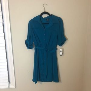 Teal Button Up Dress